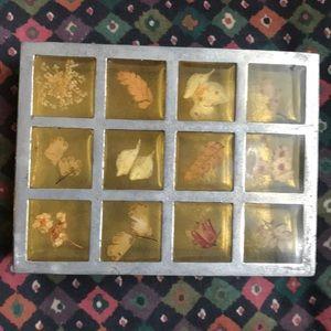 Anthropologie glass jewelry box w/flowers